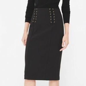 White House Black Market Lace Up Waist Skirt